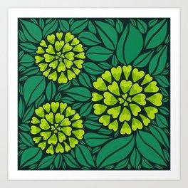 Spring Green Floral pattern Art Print