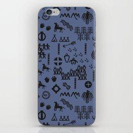 Peoples Story - Black on Blue iPhone Skin