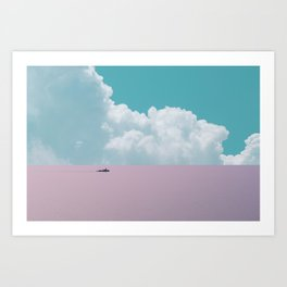 Abstract minimalist scenic view of calm sea with boat Art Print