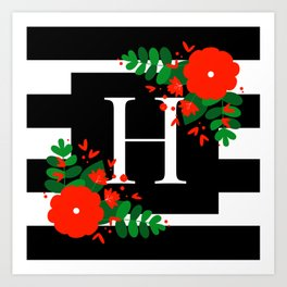 H - Monogram Black and White with Red Flowers Art Print