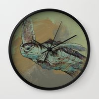 sea turtle Wall Clocks featuring Sea Turtle by Michael Creese