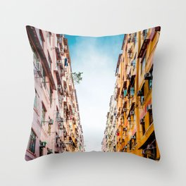 Residential apartment in old district, Hong Kong Throw Pillow