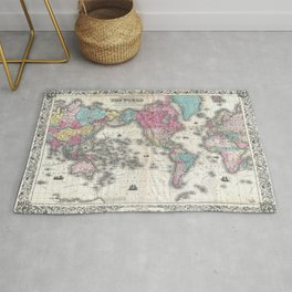 1852 J.H. Colton Map of the World Rug