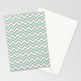 Chevron - mint and grey Stationery Cards