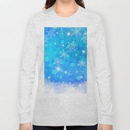 Blue Winter Snowflakes Pattern Christmas Decor Long Sleeve T-shirt