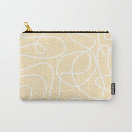 Doodle Line Art   White Lines on Soft Yellow Carry-All Pouch
