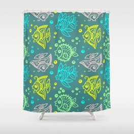 Fishes Batik Style Seamless Pattern Shower Curtain
