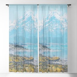 Mountain Scenery 1 painted Sheer Curtain