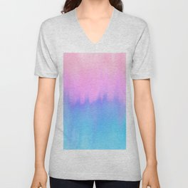 Elegant teal lavender pink watercolor brushstrokes ikat Unisex V-Neck