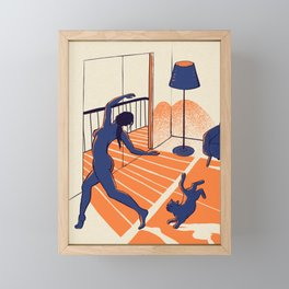 Dancing with the cat | Moody sunset light and shadows | Aesthetic room | Naked dance | Femme Fatale | Sunlight | Alone at Home Again | Balcony | Quarantine Pawfect Buddies Framed Mini Art Print