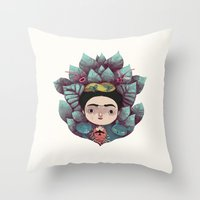 frida Throw Pillows featuring frida by yohan sacre