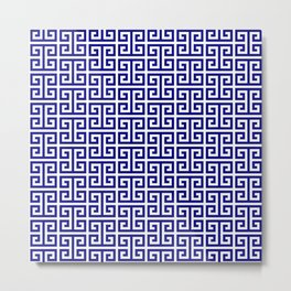 Navy and White Greek Key Pattern Metal Print