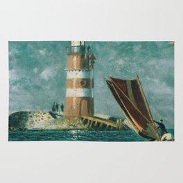 Vintage Painting of a Coastal Lighthouse (1895) Rug