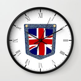 Union Jack Denim Pocket Wall Clock