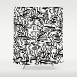 Waves – Black Ink Shower Curtain