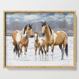 Buckskin Pinto Paint Quarter Horses In Snow Serving Tray