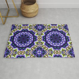 Decorative kaleidoscope in purple, blue, green and salmon Rug