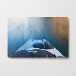 Moving Fast Kayaking on McCloud Reservoir Metal Print