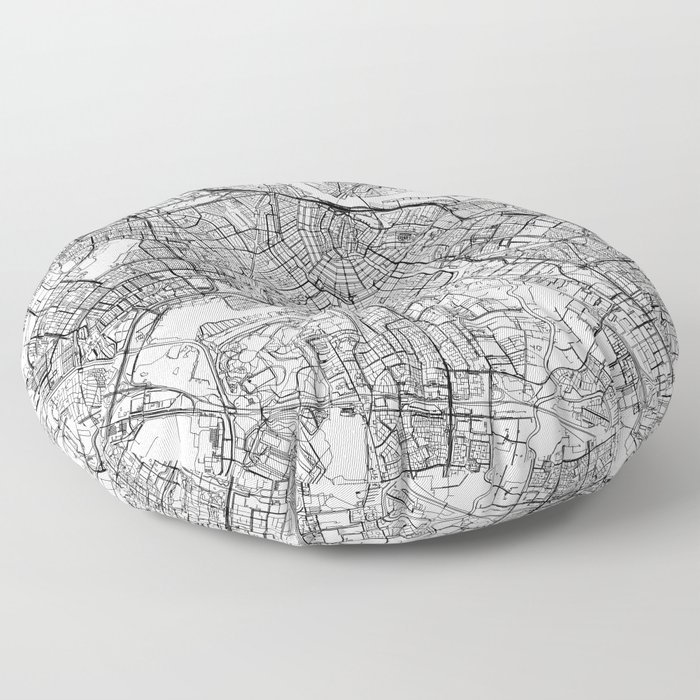 Amsterdam White Map Floor Pillow