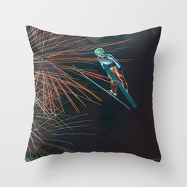 Loop Jump ski Throw Pillow