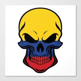 Colombian Flag Skull Canvas Print
