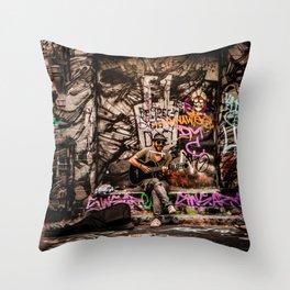 Urban Busker Throw Pillow