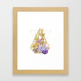 Succulent Geometry gold wire geometric frames Framed Art Print