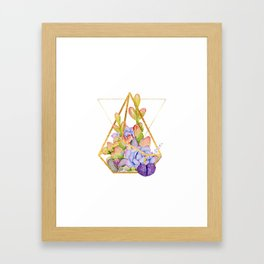 Succulent Geometry gold wire geometric frames Framed Art Print