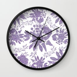Elegant Lavender Purple White Glitter Floral Wall Clock