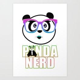 Panda Nerd Girl - Rainbow Art Print