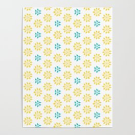 Spring Yellow Blue Flower Pattern Poster