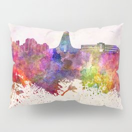 Reykjavik skyline in watercolor background Pillow Sham