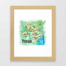 USA Texas Travel Poster Map With Highlights Framed Art Print