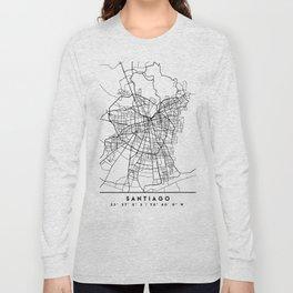 SANTIAGO DE CHILE BLACK CITY STREET MAP ART Long Sleeve T-shirt