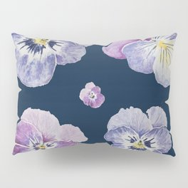 Watercolor Pansy Pattern (Navy Background) Pillow Sham