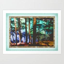 MOUNTAIN LAKE THROUGH HEMLOCK TREES Art Print