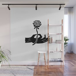 Linocut hand with flower minimal modern black and white decor gifts Wall Mural