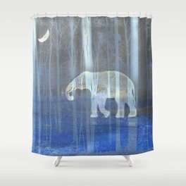 Moonlight with elephant Shower Curtain