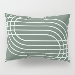 Geometric Lines in Forest Green Pillow Sham