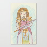 legend of zelda Canvas Prints featuring Zelda by Jen DesRoche