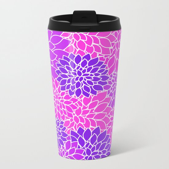 Shades Of Purple - Bright Floral Pattern - Flower Art Metal Travel Mug