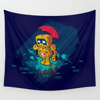 robot Wall Tapestries featuring TINY ROBOT by Letter_q