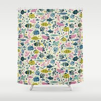 fish Shower Curtains featuring Little Fish by Anna Deegan