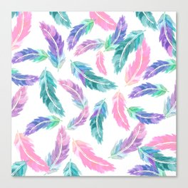 Pastel pink turquoise hand painted watercolor feathers pattern Canvas Print