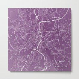 Worcester Map, USA - Purple Metal Print