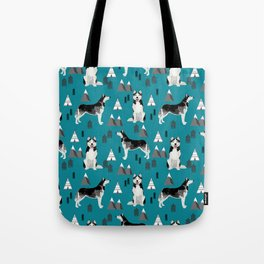 Husky siberian huskies mountains pet portrait dog dogs pet friendly dog breeds gifts Tote Bag