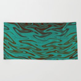 Ripples Fractal in Teals Beach Towel