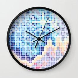 Pixelated Nebula Blue Wall Clock