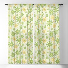 Bohemian Retro 70s Groovy Daisy Pattern with Stripes , Hand-painted in Grass Green, Golden and Ivory Sheer Curtain