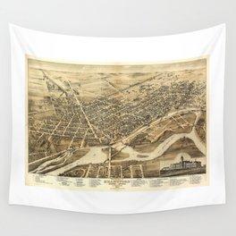 Bird's Eye View of Brantford, Ontario, Canada (1875) Wall Tapestry